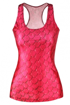 Red Fashion Womens Crew Neck Fish Scale Printed Tank Top