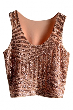 Pink Womens Fancy Stripe Sequins Tank Crop Top