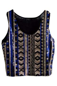 Blue Ladies Sexy Tank Sequins Chick Crop Top