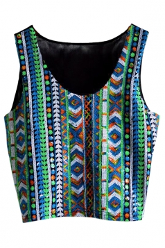 Green Ladies Sexy Tank Sequins Chick Crop Top