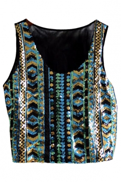 Turquoise Ladies Sexy Tank Sequins Chick Crop Top