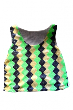 Green Womens Argyle Sequins Tank Sexy Crop Top