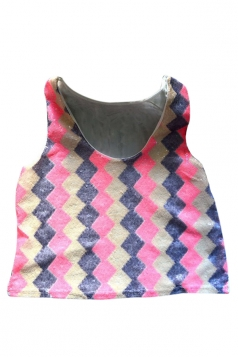 Pink Womens Argyle Sequins Tank Sexy Crop Top