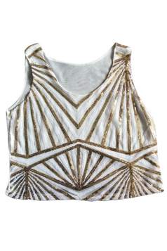 White Sequins Ladies Sexy Tank Stripe Fashion Crop Top