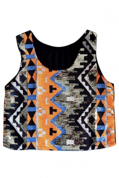Orange Vintage Sexy Womens Sequins Tank Crop Top