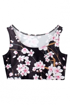 Black Sexy Ladies Floral Printed Tank Crop Top