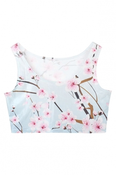 Blue Charming Womens Floral Printed Tank Crop Top