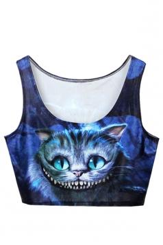 Blue Fashion Ladies Crew Neck Cat Printed Tank Crop Top