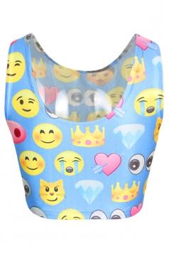 Blue Cute Womens Emoji Printed Crop Tank Top