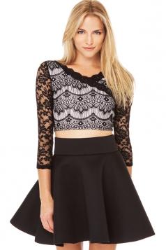 Black Vintage Ladies Lace Sexy Sheer Crop Top