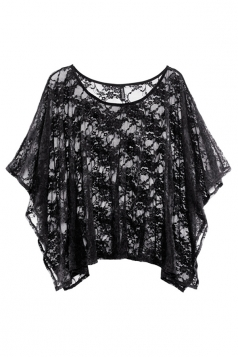 Black Sexy Ladies Rose Lace Batwing Sleeved Sheer Top