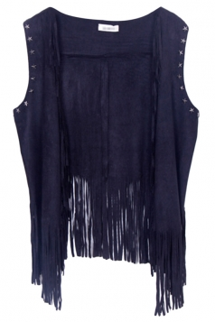 Black Modern Ladies Plain Fringe Suede Rivet Vest