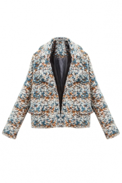 Blue Colorful Womens Cute Thick Fashion Lapel Tweed Coat