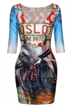 Blue Stylish Ladies Sloth Jacket Printed Crew Neck Bodycon Dress