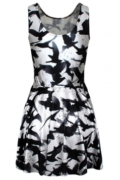 Black Fancy Sexy Ladies Tank Swallow Printed Skater Dress