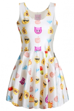White Cute Ladies Emoji Printed Sleeveless Funny Skater Dress