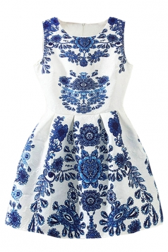 Blue and White Porcelain Printed Womens Retro Skater Dress