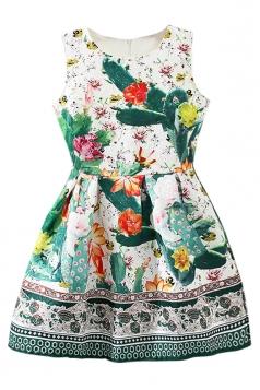 Green Fancy Ladies Retro Flowers Printed Sleeveless Skater Dress