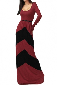 Red Long Sleeves Womens Color Block Sexy Fashion Maxi Dress