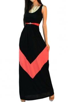 Black Womens Sexy Sleeveless Color Block Casual Maxi Dress