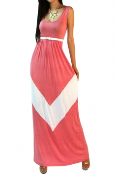 Pink Womens Sexy Sleeveless Color Block Casual Maxi Dress