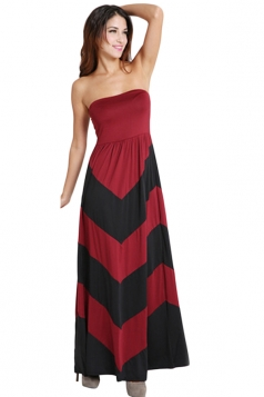 Red Ladies Sexy Strapless Color Block Fashion Maxi Dress