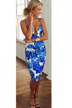 Blue Ladies Low-cut Floral Printed Spaghetti Strap Clubwear Dress