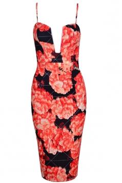 Red Ladies Low-cut Floral Printed Spaghetti Strap Clubwear Dress