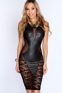 Black Sexy Ladies Lace Patchwork Sheer Sleeveless Clubwear Dress