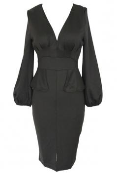 Black Sexy Ladies V-neck Ruffle puff Sleeve Midi Dress