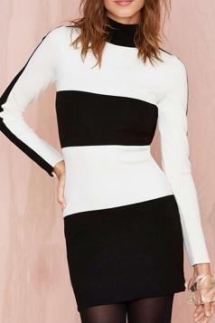 White Pretty Ladies Black and White Stripe Long Sleeve Dress