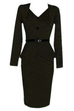 Black Charming Womens V-neck Vintage Ruffle Peplum Dress