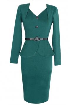 Green Charming Womens V-neck Vintage Ruffle Peplum Dress