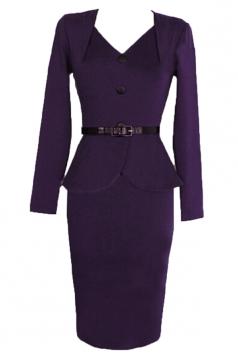 Purple Charming Womens V-neck Vintage Ruffle Peplum Dress