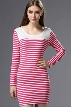 Red Charming Womens Stripe Long Sleeve Bodycon Dress