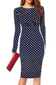 Blue Pretty Womens Vintage Polka Dot Midi Dress