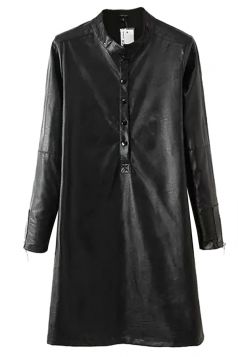 Black Chic Womens Stand Collar Long Sleeve Shift Leather Dress
