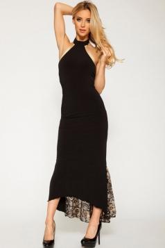 Black Halter Womens Fancy Backless Lace Patchwork Evening Dress