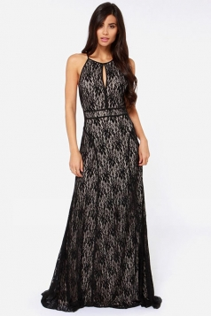 Black Lace Sleeveless Womens Backless Halter Sexy Evening Maxi Dress