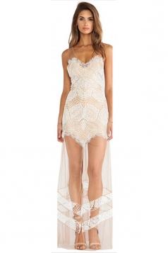 White Pretty Ladies Sheer V Neck Strap Mesh Patchwork Maxi Dress
