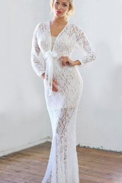 White Womens V-neck Lace Jacquard Long Sleeve See Through Maxi Dress