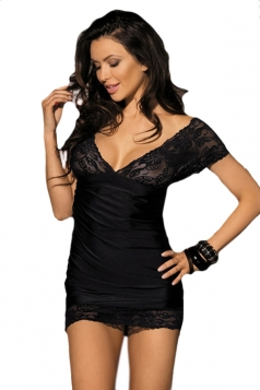Black V Neck Sexy Ladies Lace Patchwork Classy Lingerie Babydoll