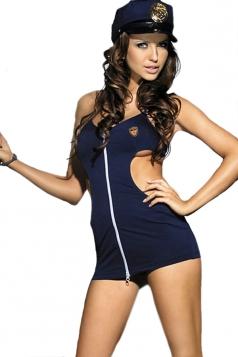 Navy Blue Cut Out Zipper Sexy Womens Cop Costume Hot Lingerie