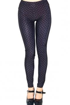 Black Argyle Ladies Fashion Printed Slimming Leggings