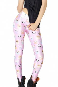 Pink Cute Cartoon Ladies Animal Cupcake Printed Leggings