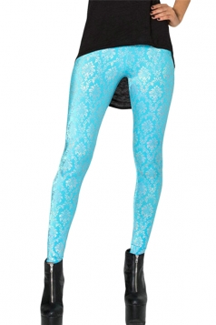 Blue Floral Ladies Retro Printed Sexy Leggings