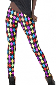 Black Colorful Womens Argyle Sexy Leggings