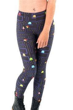 Black Cute Ladies Pac-Man Printed Funny Leggings