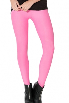 Pink Womens Plain Slimming Fancy Leggings