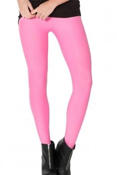 Pink Womens Plain Slimming Fancy Leggings